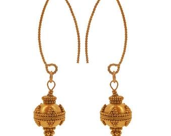 22 Karat Gold Vermeil Granulation Earrings, Bali Bead Earrings, Gold Bead Earrings, Vermeil Earrings,Gold Vermeil Bali Beads Dangle Earrings