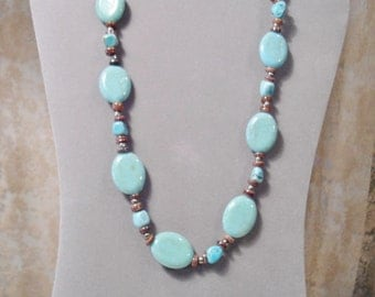 Turquoise Necklace Southwest Chunky Turquoise Beads Rustic Boho Hippie Jewelry