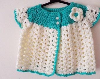 Handmade Crochet Baby Cardigan Designer Cream & Green