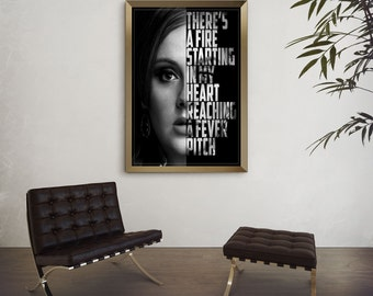 Adele Lyric Poster - Rolling in the Deep - Adele Art Print - Lyric Art Print - Adele Music Lyrics - Custom Lyric Art - Music Poster
