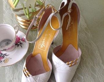 80's Carvela white court shoe