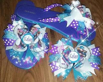 SALE SALE Custom Flip Flops Boutique Flip Flops  Custom Boutique Flip Flops Polk-a-dot Flip Flops Cheer Flip Flops