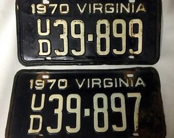 VA License Plates (2) - 1970 - UD Prefix Code