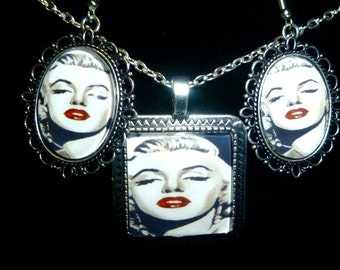 Marilyn Monroe Pendant and Earring Set