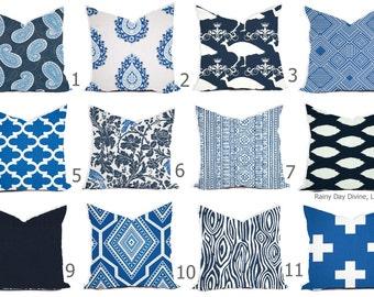 Pillow Cover Throw Accent Decor - Custom All Sizes - 16x16, 18x18 Blue Cobalt Navy Aqua Modern Geo World Market