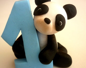 First Birthday cake topper - Panda cake topper handmade with polymer clay - baby shower gift