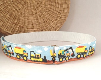 Children's belt, adjustable velcro or d-ring boy's belt with trucks