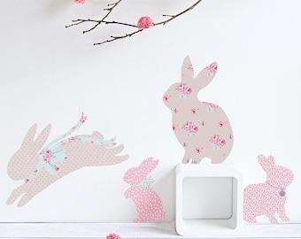 Gemustertes Kaninchen-Wandtattoo (Stoff-Sticker, nicht Vinyl)