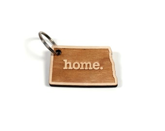 North Dakota Key Charm by Home State Apparel: Laser Engraved Wood Keychain, ND