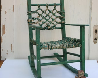 Antique Chippy Green Child's Rocking Chair with Woven Seat