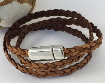 Tan Triple Wrap Braided Leather Bracelet with Magnetic Clasp Leather Bangle, Unisex Leather Bracelet,Women's Leather Bracelet,Tan and Silver
