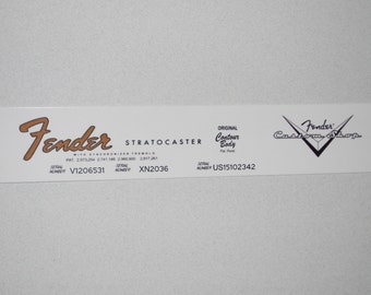 Repro Vintage Fender Stratocaster Decal, with serial numbers plus 1 custom shop decal --  All waterslides