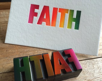 Letterpress typeset wood print - Faith