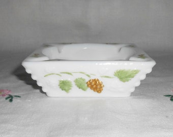Westmoreland Hand Painted Paneled Grape Milk Glass Ashtray
