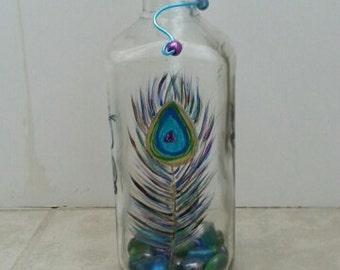 Hand-Painted Wine Bottle Citronella Burner