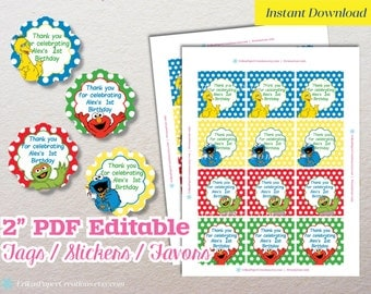 """2"""" Sesame Street Favor Tags / Stickers / Toppers - INSTANT DOWNLOAD"""