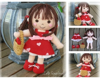 Felt Pocket Doll With Full Red Outfit, Removable outfit!