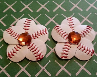 Baseball Hair Clip and Flip Flop Clips with Orange Rhinestone