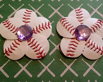 Baseball Hair Clip and Flip Flop Clips with Light Purple Rhinestone