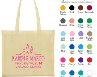 Canvas Bags (C1256) Chicago Skyline - Personalized Bags - Wedding Favors - Custom Bags - Wedding Tote Bags - Cotton Tote Bags