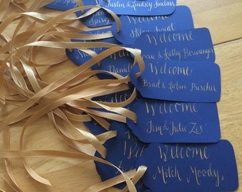 Custom welcome wedding tags