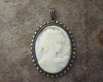 Venus Cameo Pendant Mother of Pearl , Marchasite Sterling Silver