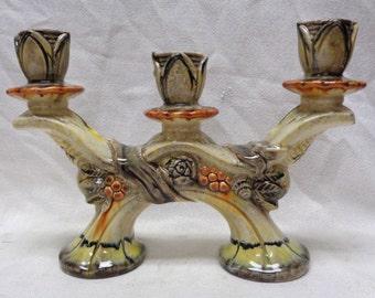 "Vintage Hand Painted Candleholder w/ Decorative Floral Designs- 8"" x 11"""