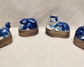 "Set of 4 Animal Trinket Boxes (Dog, Cat, Rabbit & Frog) 3.5 x 4 x 2.5"" VINTAGE"