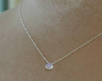 Moonstone necklace silver, dainty bridesmaid necklace, bridesmaid jewelry gift, June birthstone necklace - Natalie