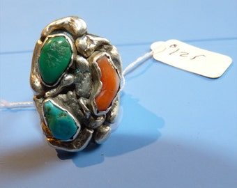 Navajo Mens Turquoise Coral and Silver Ring Handmade -- SIZE 10 -- Smooth Fit Circa 1950's Lower 48 Free Shipping/Handling