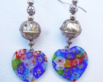 Flowers glass hearts earrings
