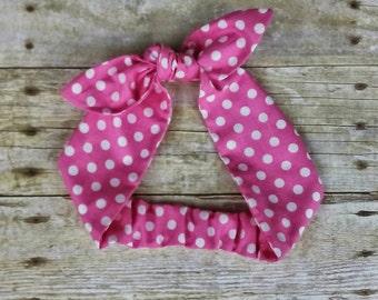 Pink polka dot headband bandana with elastic band