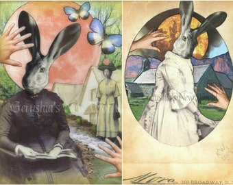 Mayor Ricarda's Monday Morning Book Club and Portrait of Mayor Ricarda - Anthropomorphic, Collage, Mixed Media,  Print Set
