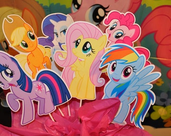 My Little Pony Large Centerpiece and Cake Topper set of 6