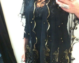 Stunning Black & Gold Embroided throw over top jacket. Hand made Andriani Collection.