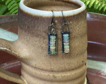 Iron and Opal Earrings