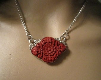 Coral and Sterling floral carved necklace