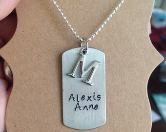 Dog tag necklace with initial