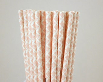 Light Pink Damask Paper Straws-Light Pink Straws-Damask Straws-Wedding Straws-Party Straws-Shower Straws-Mason Jar Straws-Cake Pop Sticks