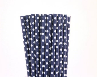 Navy Blue Polka Dot Paper Straws-Navy Blue Straws-Polka Dot Straws-Wedding Straws-Party Straws-Mason Jar Straw-Shower Straws-Paper Straws