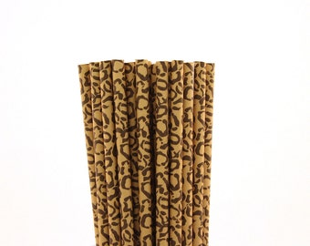 Cheetah Print Paper Straws-Cheetah Straws-Jungle Party Straws-Brown Paper Straws-Safari Straws-Birthday Party Straws-Zoo Party Straws
