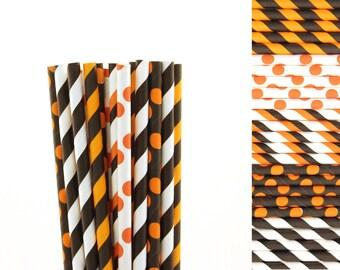 Orange and Black Paper Straw Mix-Orange Straws-Polka Dot Straws-Black Straws-Striped Paper Straws-Halloween Party Straws-Pumpkin Party Straw