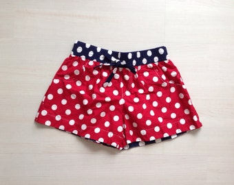 Cotton woman summer shorts board shorts surf shorts 2 in 1 shorts / nautical red and white polka dots print