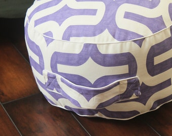 The Original Pouf Floor Cushion - Embrace Thistle+White Piping