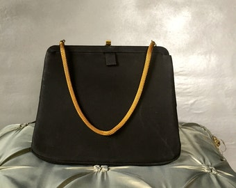 Vintage Black Evening Purse with Gold Chain Handle