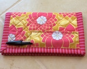 Quilted Checkbook Cover, Vera Bradley Style Checkbook Cover, Pink/ Gold,  Wallet, Purse,Quiltsy Handmade, Woman's Gift Clutch