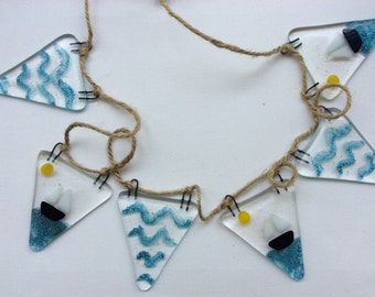 Fused Glass Bunting Sailing Boat Seaside Sunshine tile Present Gift