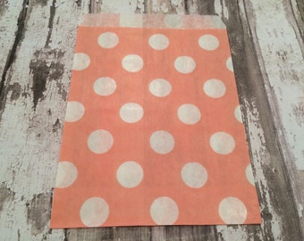 25 Light Peach/Light Coral Polka Dot Paper Candy Bags, Unlined, Medium Bags.  Favor Bags, Party, Wedding, Shower, Candy, Baked Goods