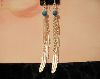 Feather Dangles with Turquoise Bead on Sterling Silver Fishhook earrings