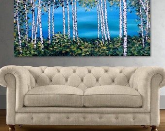 """Original Birch Tree Painting, Aspen Tree Painting art by Susie Tiborcz 24"""" x 48"""""""